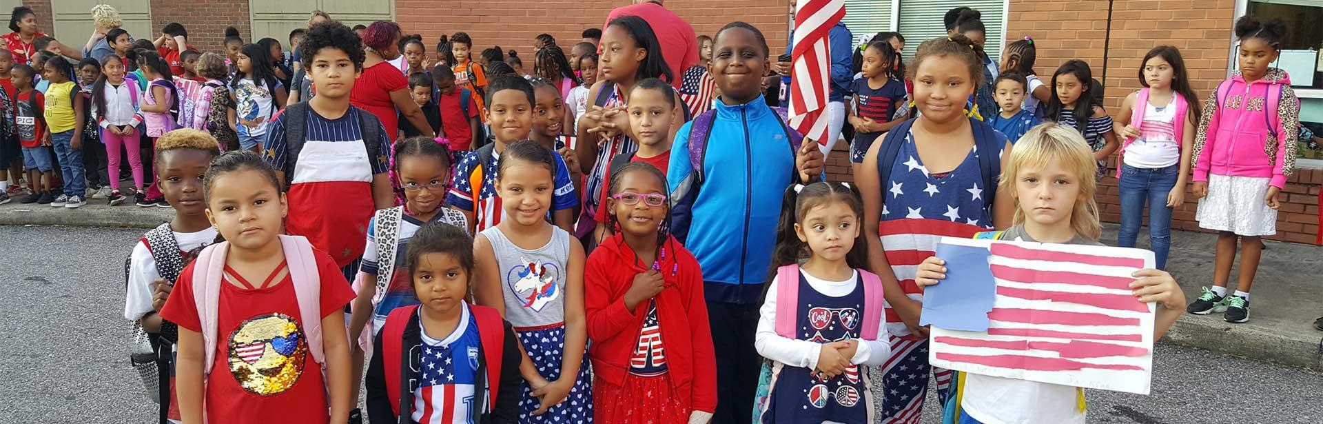 Children in patriotic clothing